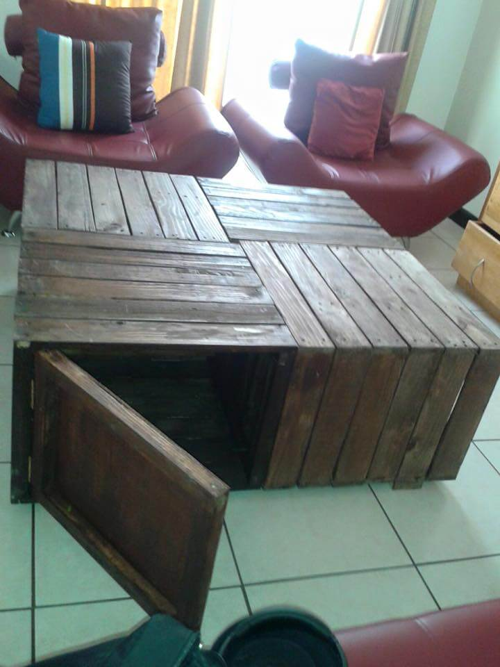 handmade wooden pallet crate style coffee table