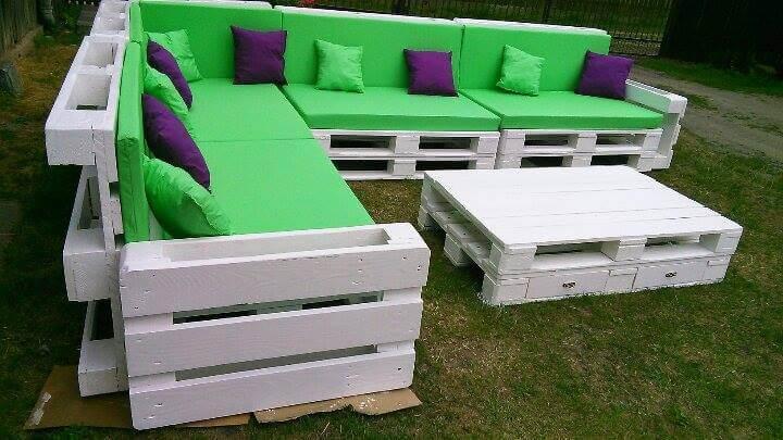 Recycled pallet giant corner sofa set