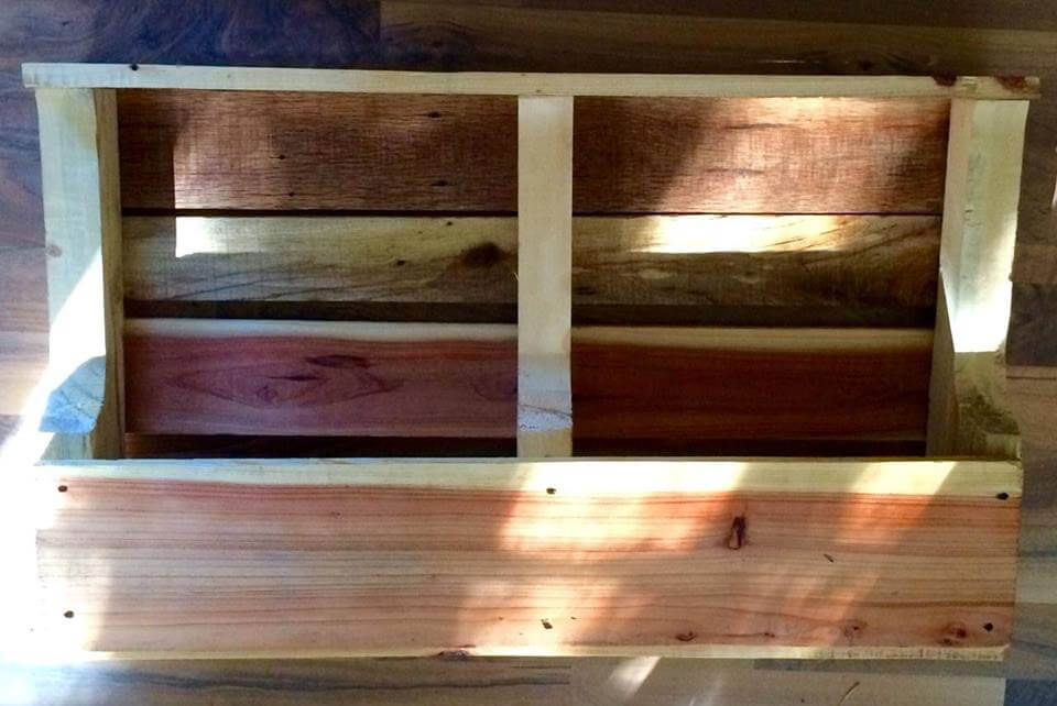 handcrafted wooden pallet wall shelf