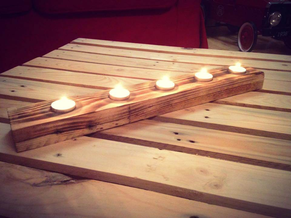 upcycled wooden pallet rustic candle holder