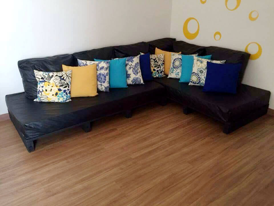 recycled pallet sectional couch