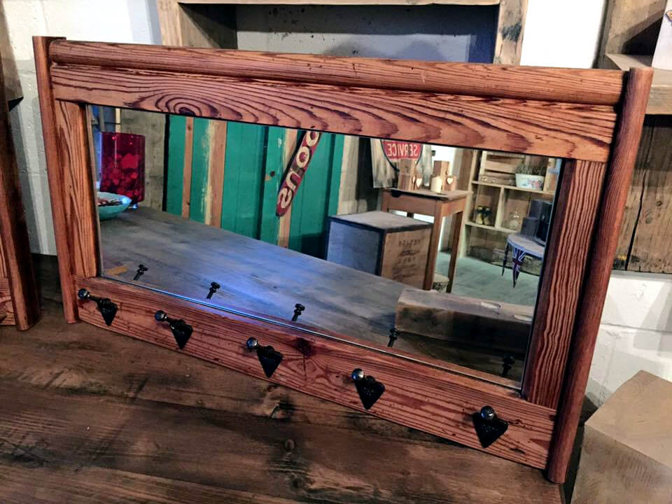 Wall Mirror With Hooks pallet mirror shelf and wall mirror hooks | 101 pallets