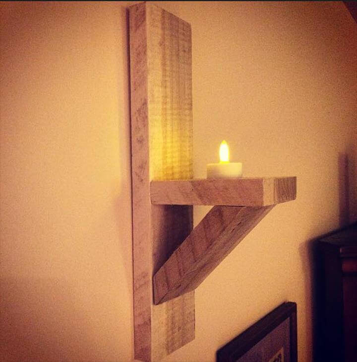 Wooden pallet candle sconce
