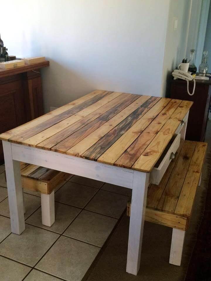 Pallet Dining Table And Bench 101 Pallets