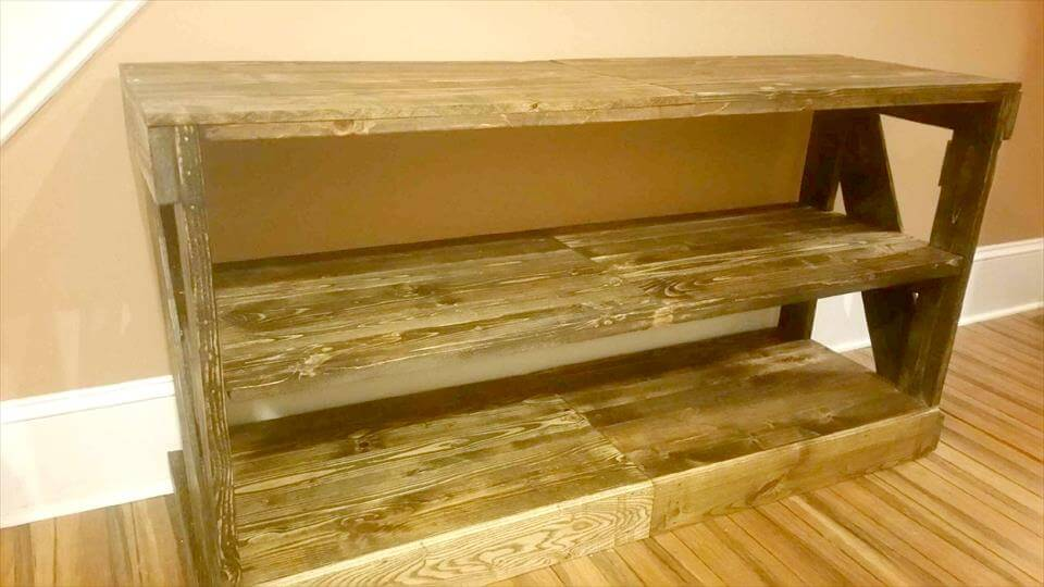 handcrafted wooden pallet entertainment center