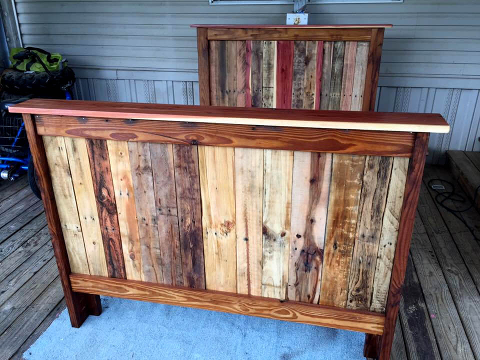Recycled pallet full size bed frame