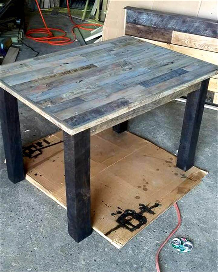Recycled pallet table and bench