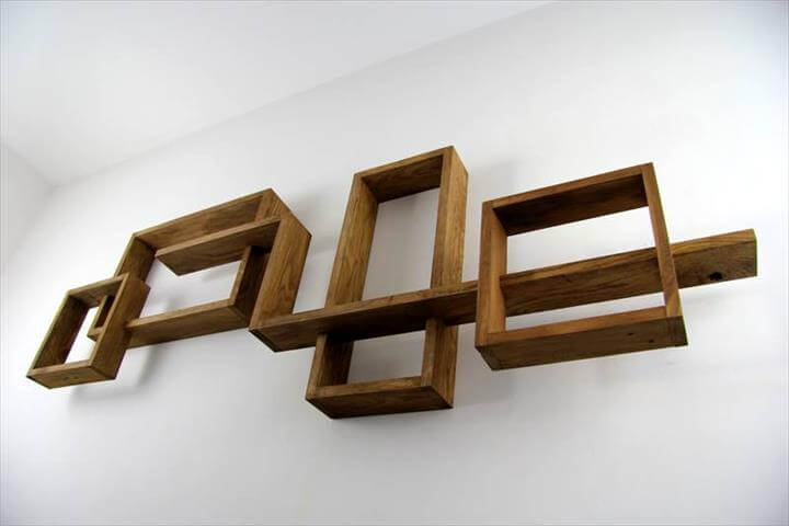 pallet geometrical wall display shelves