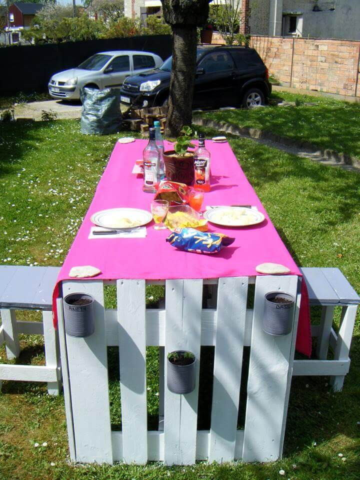 diy pallet dining table with stools