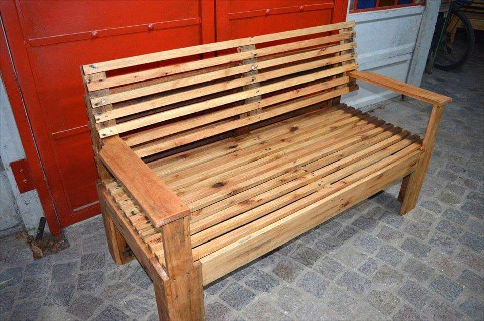 wooden bench made of pallets 101 pallets