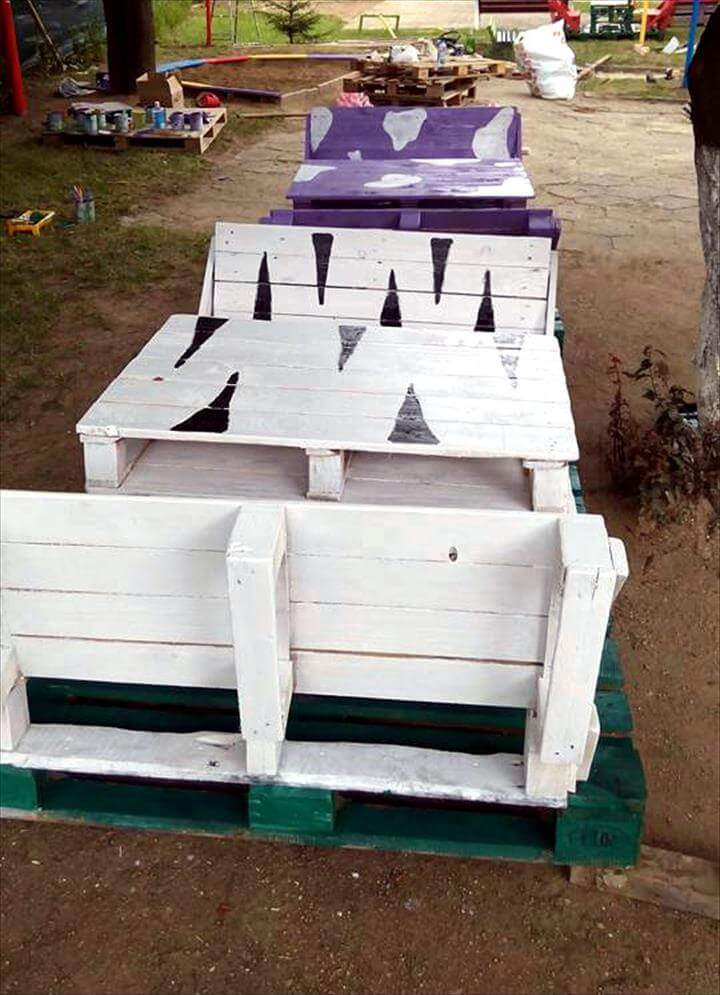 pallet bench seat set