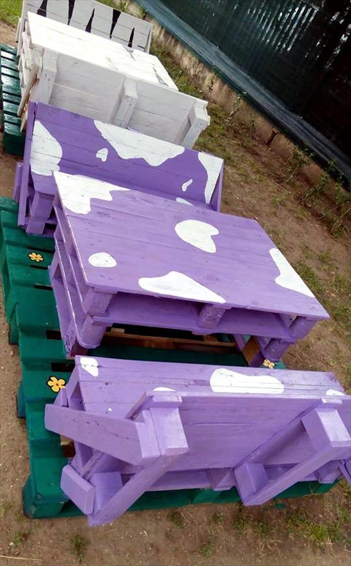 diy pallet bench seat set for kids 101 pallets