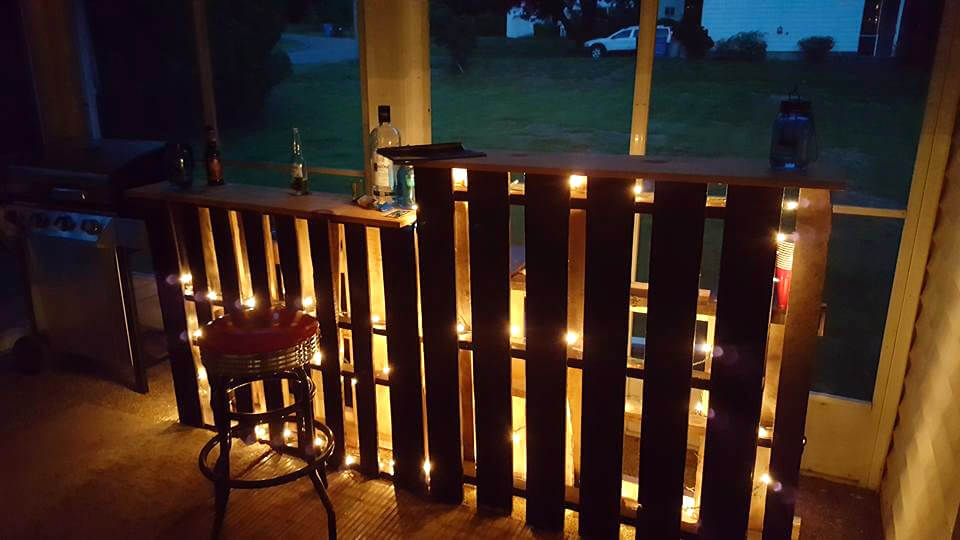 handmade wooden pallet bar with lights