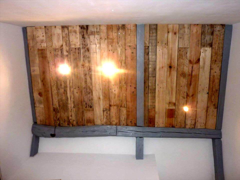 handcrafted wooden pallet accent wall