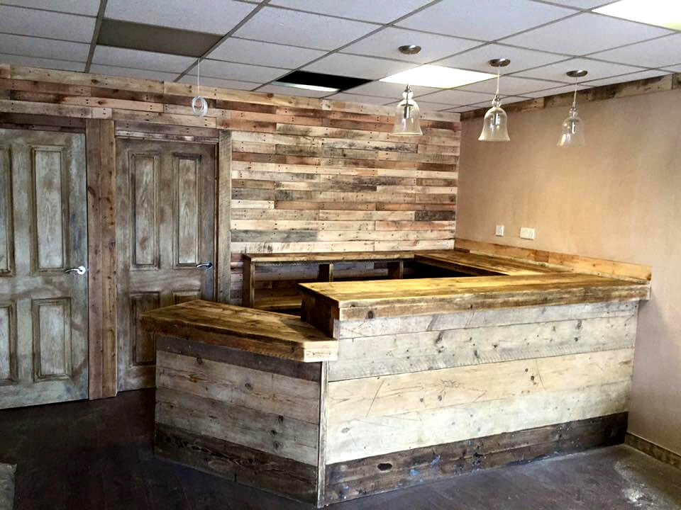 wooden pallet large indoor bar
