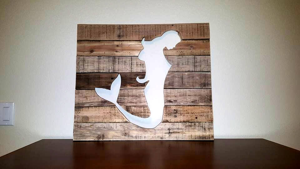 Wooden Mermaid Wall Decor diy pallet mermaid wall art | 101 pallets