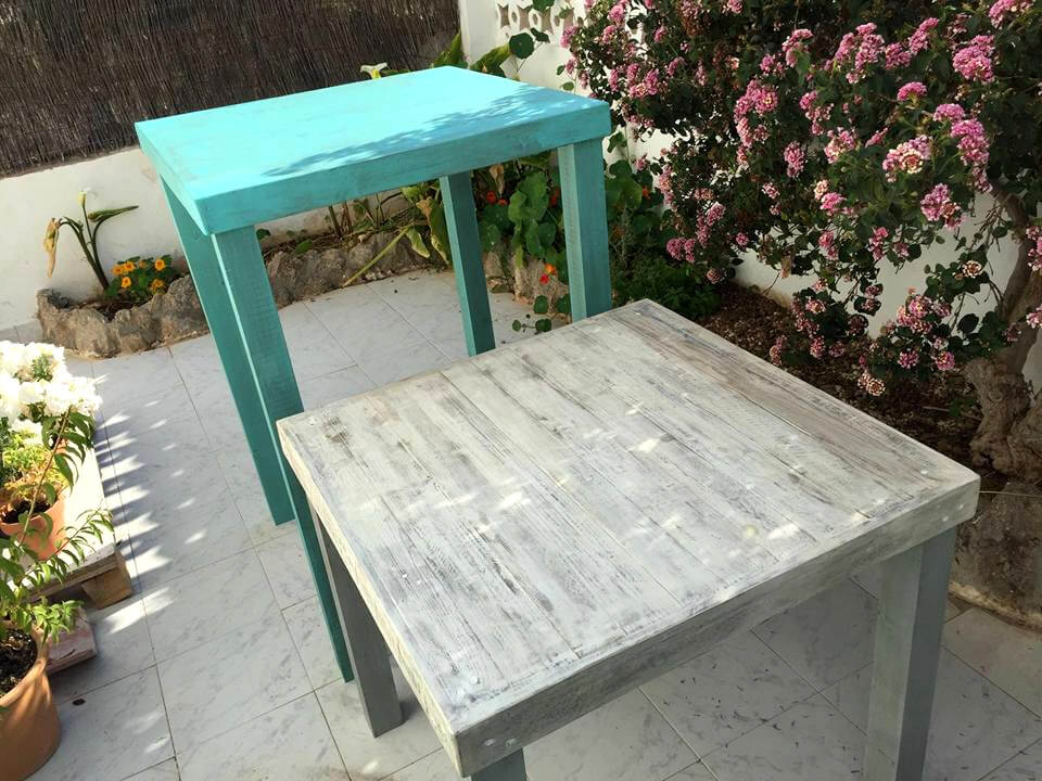 reclaimed mini pallet tables or stands