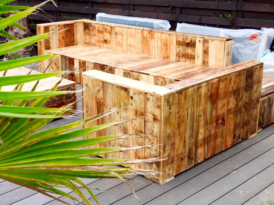 upcycled pallet deck sofa set