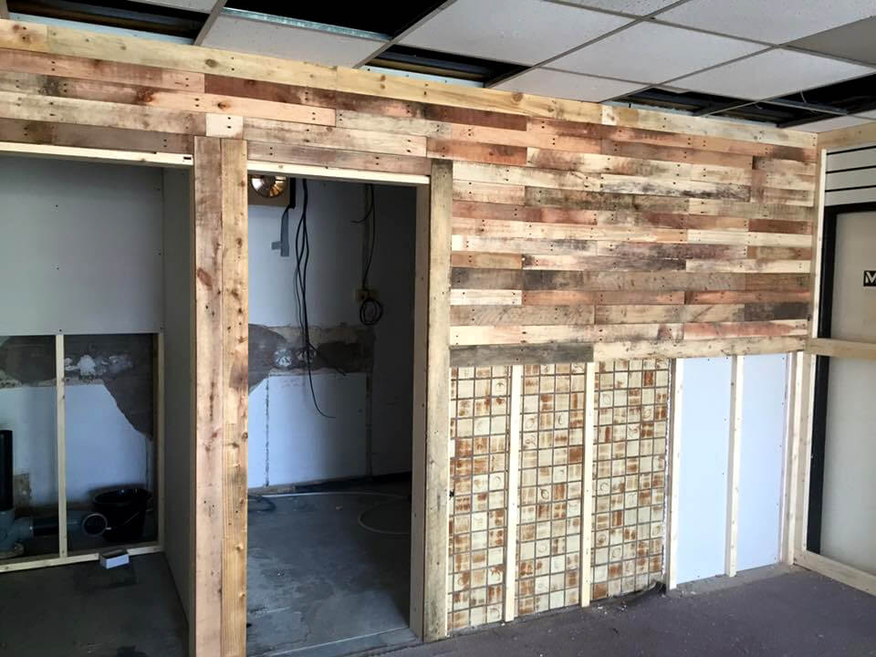pallet wall paneling of bar interior