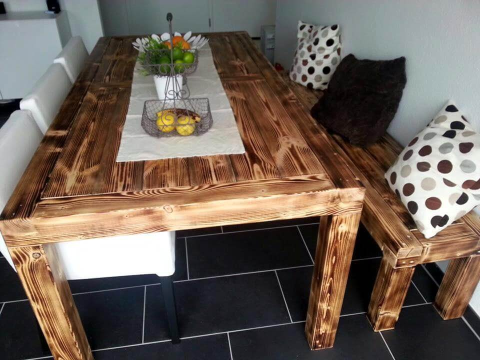 Rustic Style Pallet Dining Table Set 101 Pallets