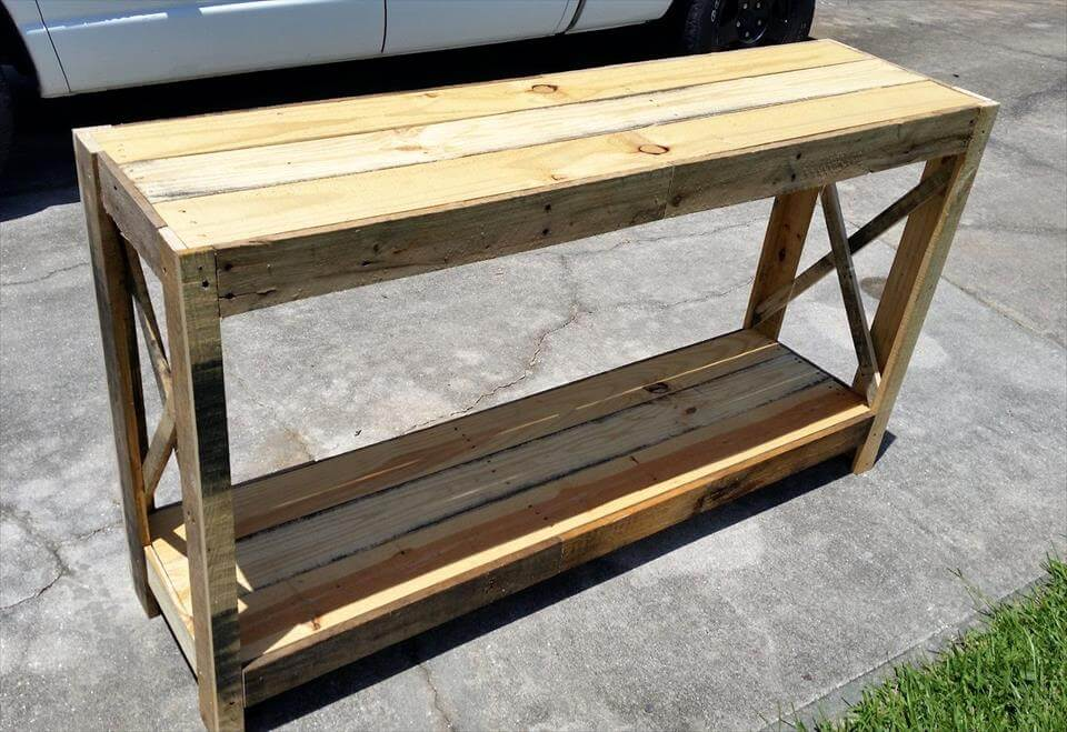 Diy Foyer Bench : Wood pallet entryway table diy pallets