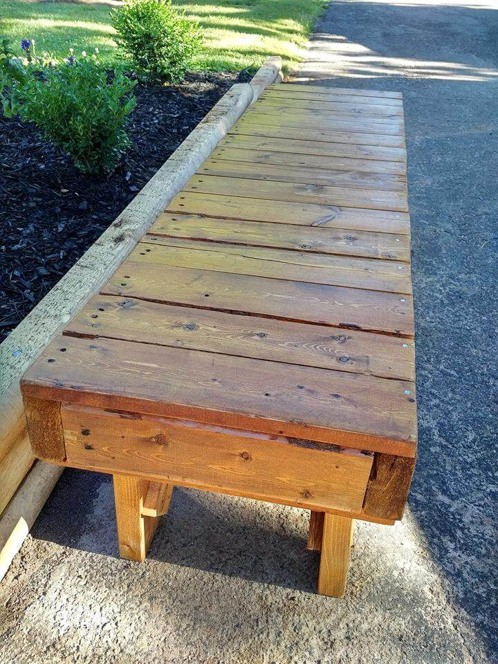 Turn old Pallet into Outdoor Bench 101 Pallets