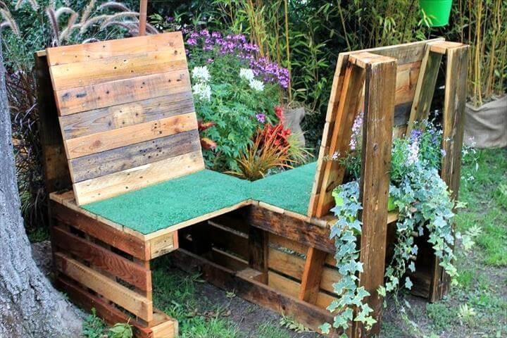 20 wonderful pallet ideas using pallets wood 101 for Siege jardin palette