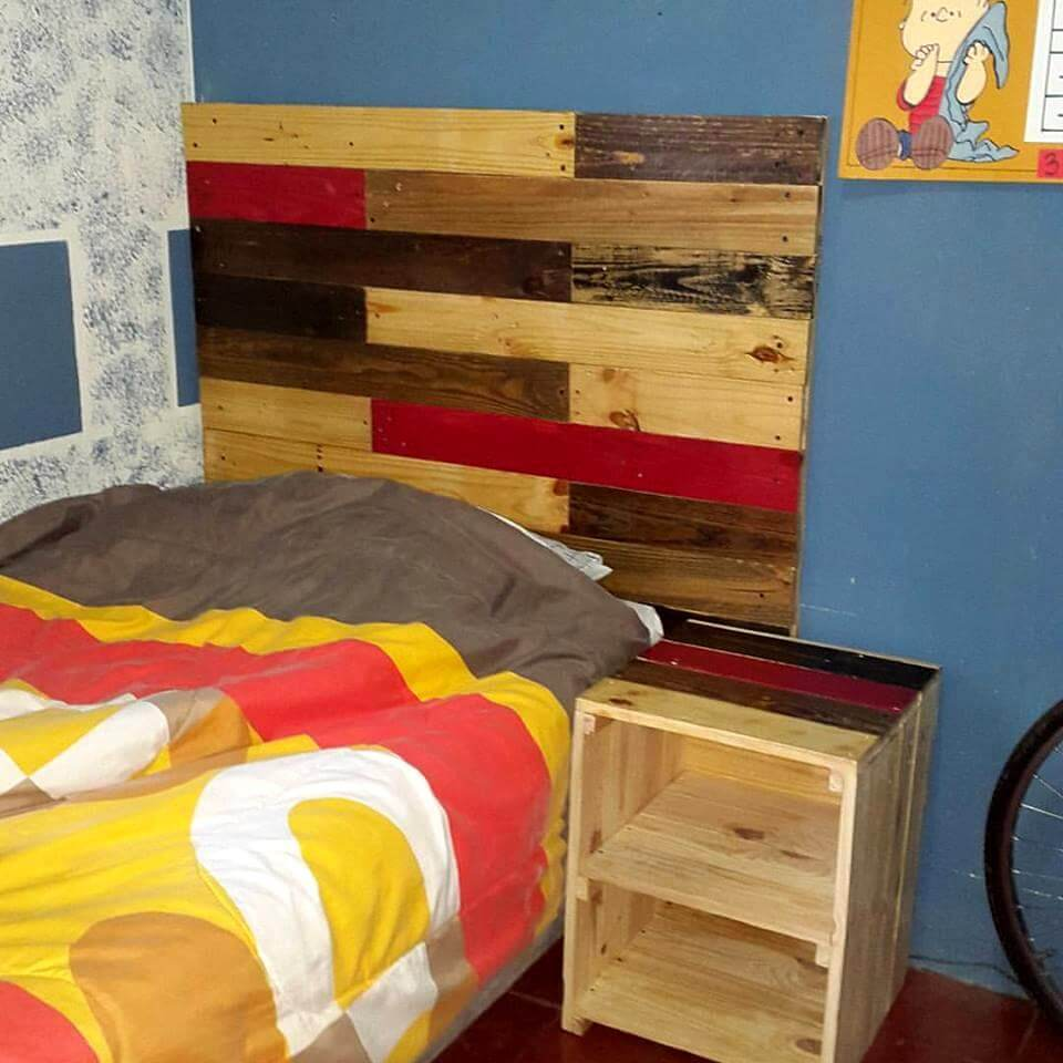 Pallet made headboard with side table