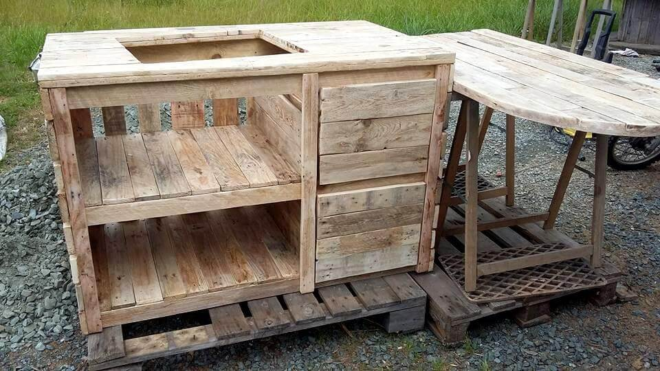 Wooden pallet kitchen island and table