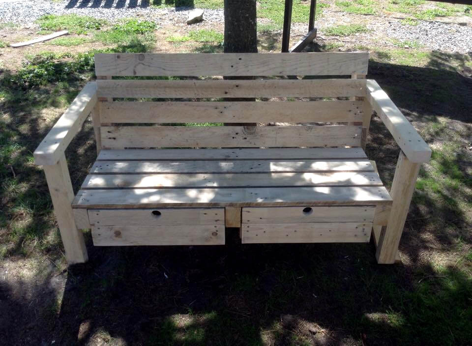 amazing pallet outdoor 2 seater with 2 drawers