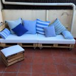 Cushioned Wood Pallet Sofa on Wheels + Ottoman