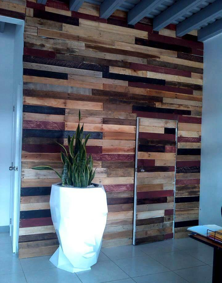 Wooden pallet made wall with door