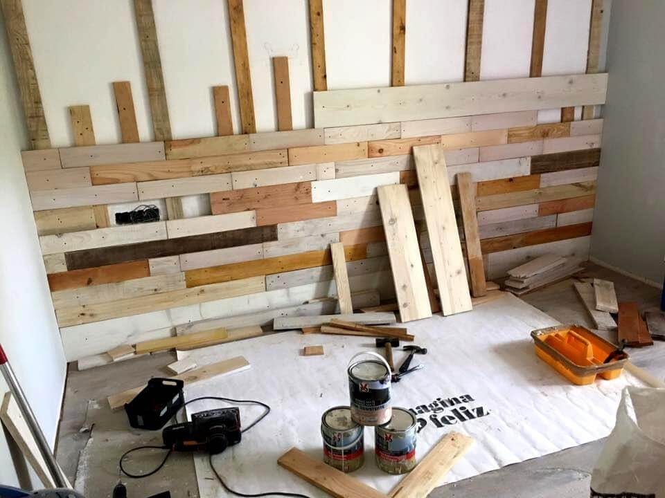Re-cycled pallet wall paneling