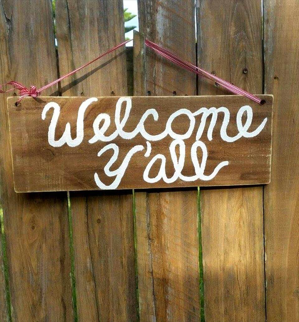 rustic pallet wooden welcome sign