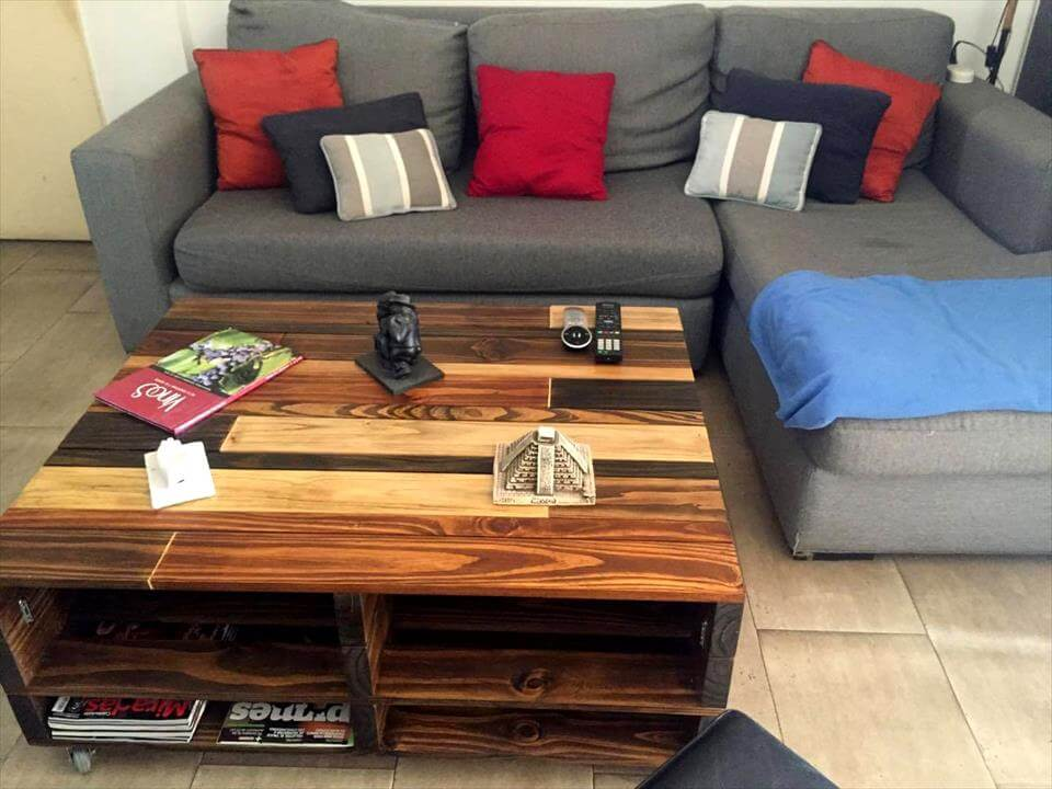 diy lift-up top pallet coffee table with storage & wheels | 101