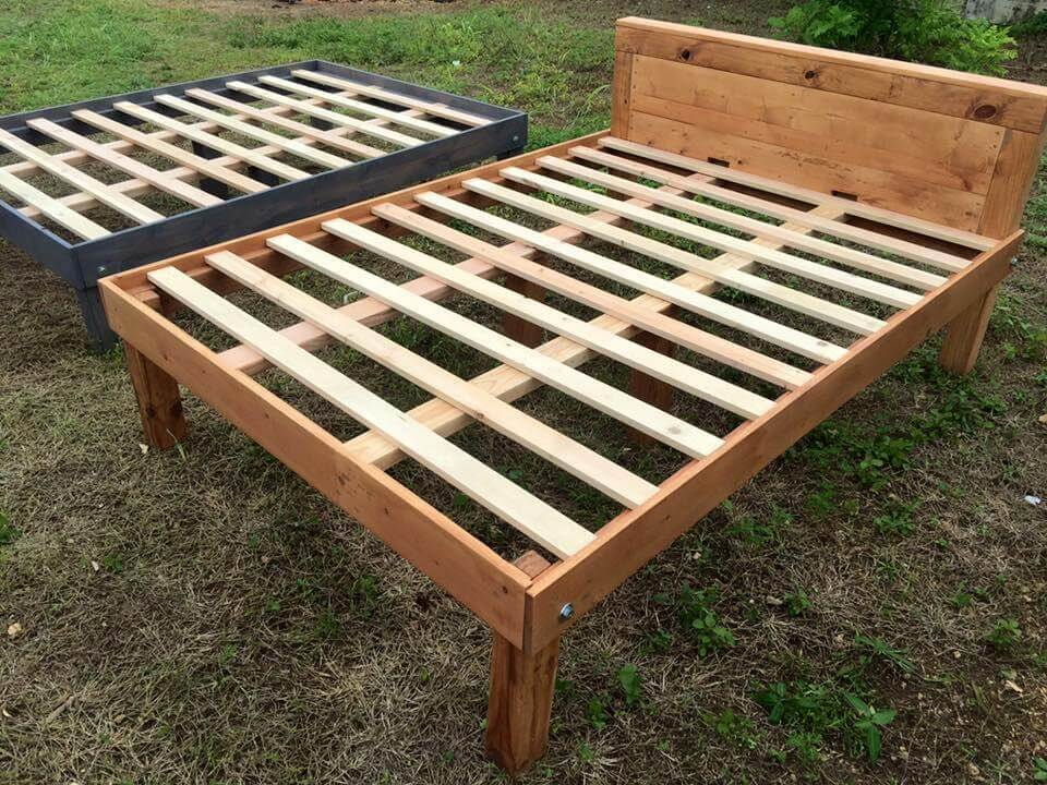 Queen Size Wooden Pallet Bed Frames | 101 Pallets on Pallet Bed Design  id=43732