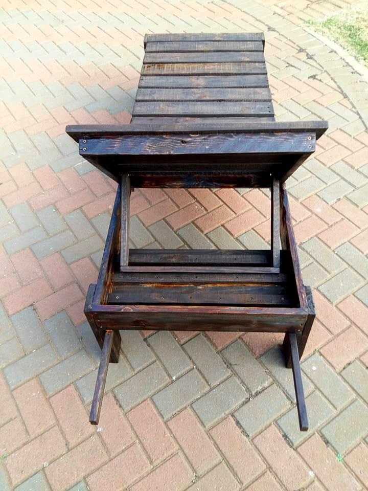 custom wooden lift-back outdoor lounger