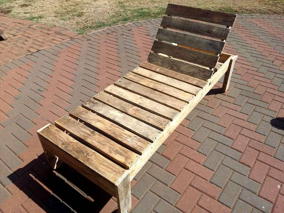 rustic wooden pallet lounger