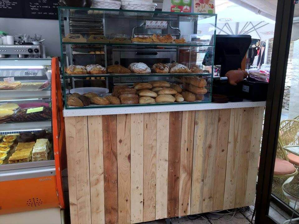 wooden pallet bakery counter