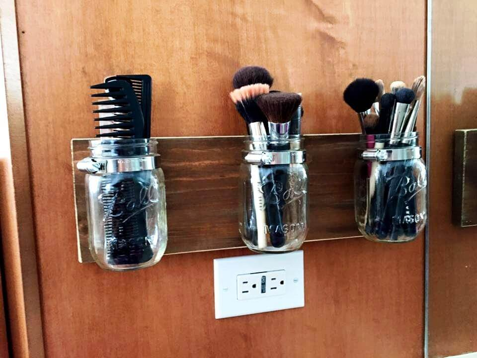 Wooden pallet make up brush holder