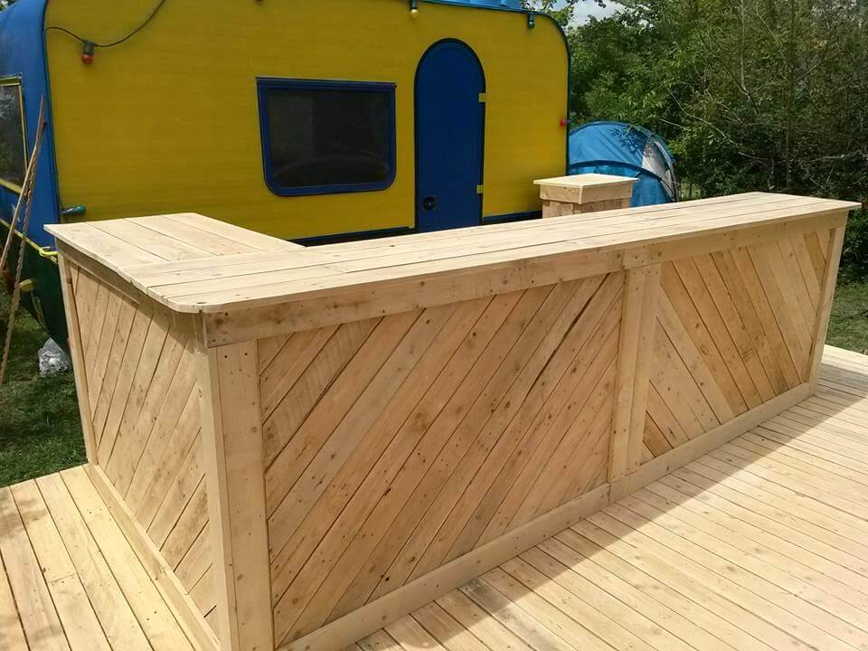 Re-purposed pallet bar and terrace