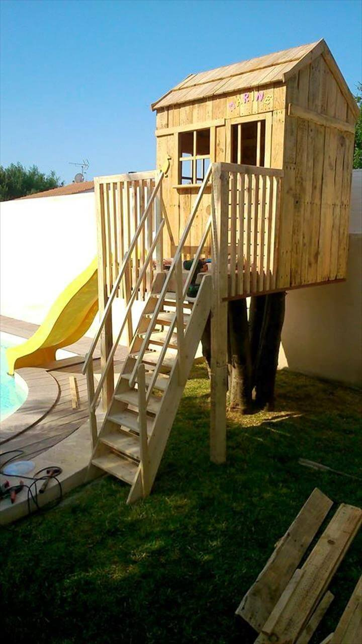 upcycled pallet playhouse for kids 101 pallets
