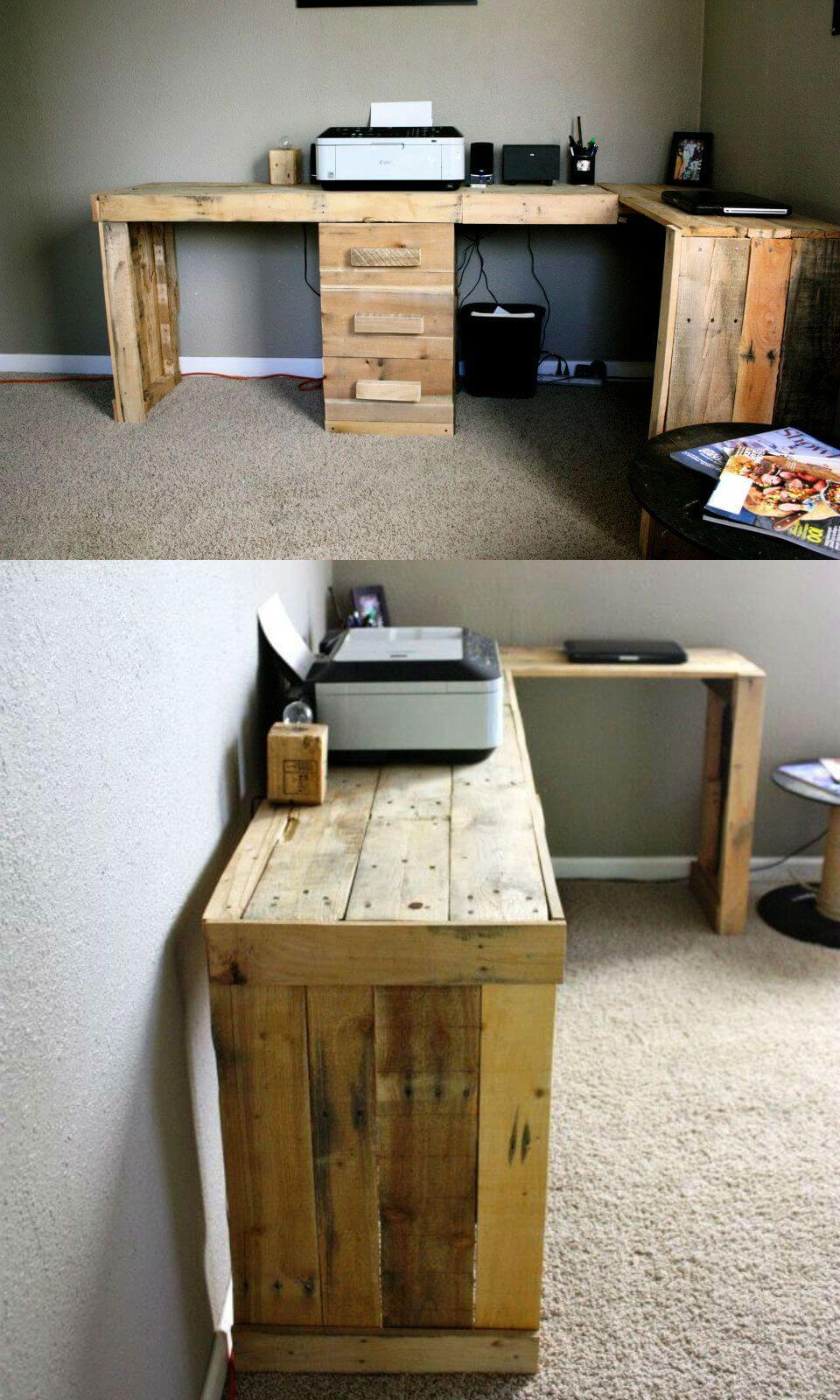 handcrafted robust pallet computer desk