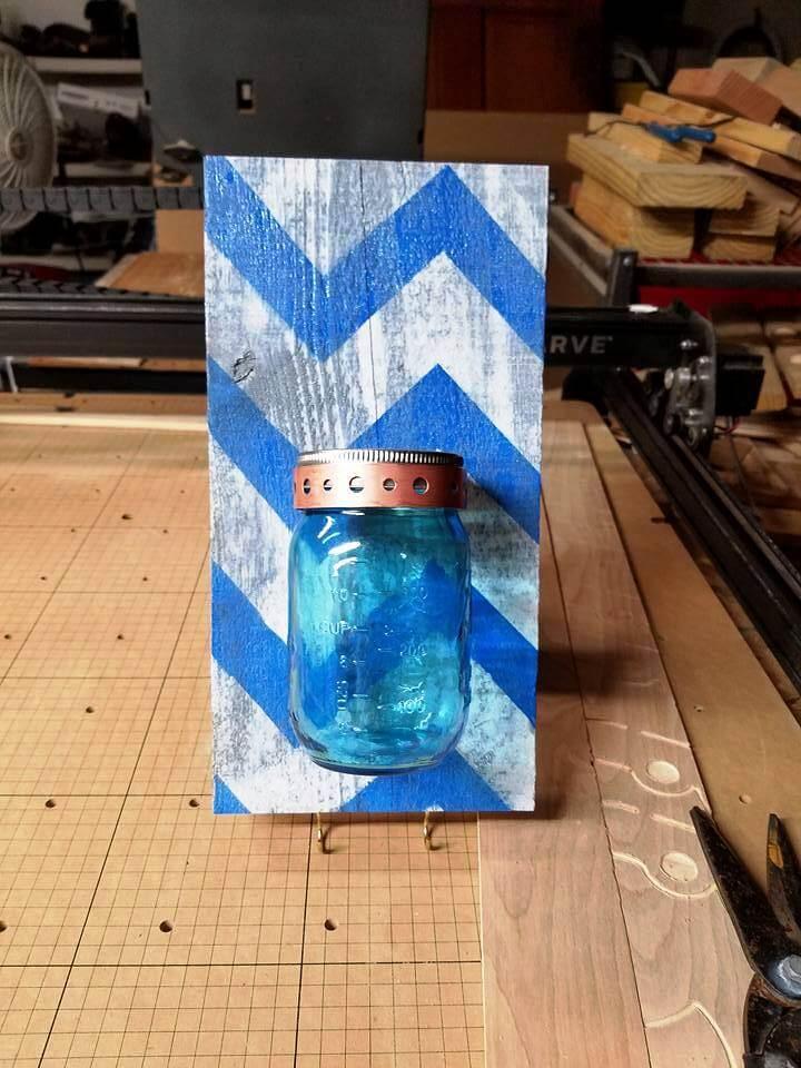 pallet and Mason jar wall organizer or vase
