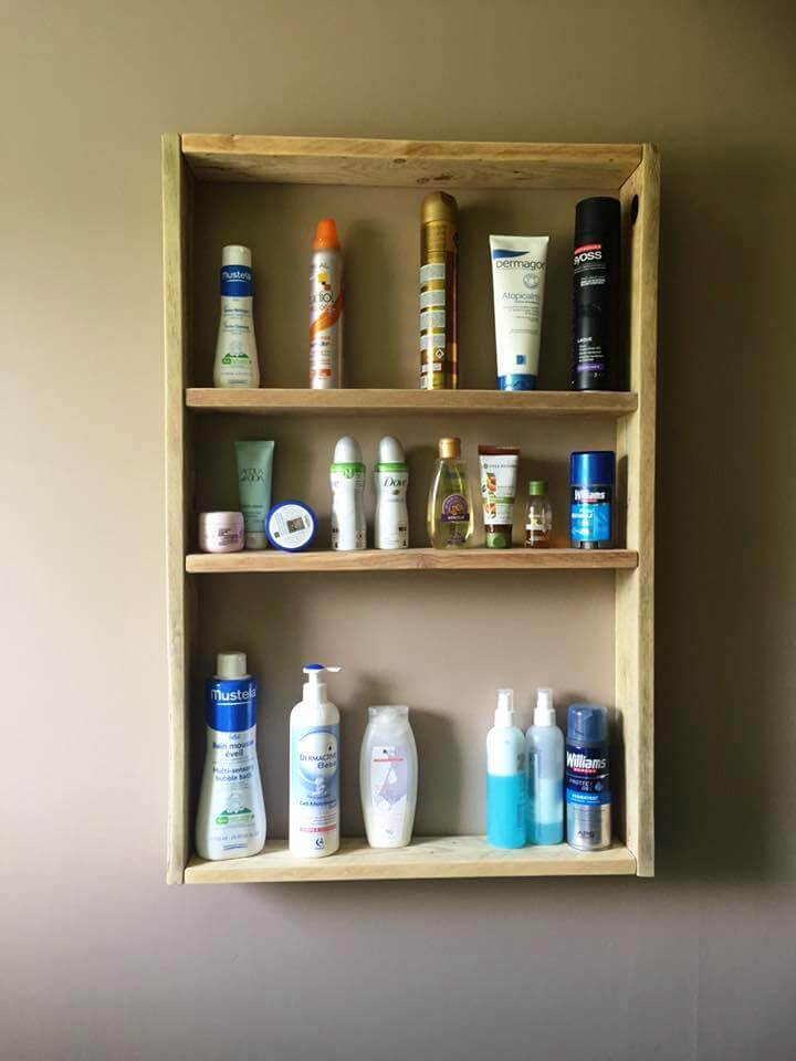 handmade pallet toiletries shelf
