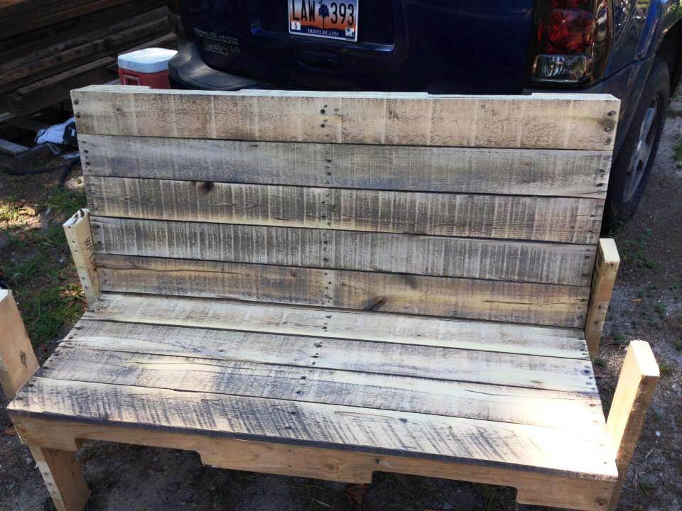 handmade rustic pallet bench