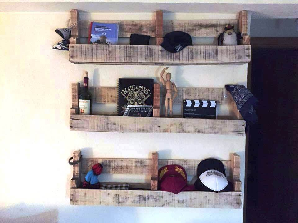 diy wall hanging pallet shelves
