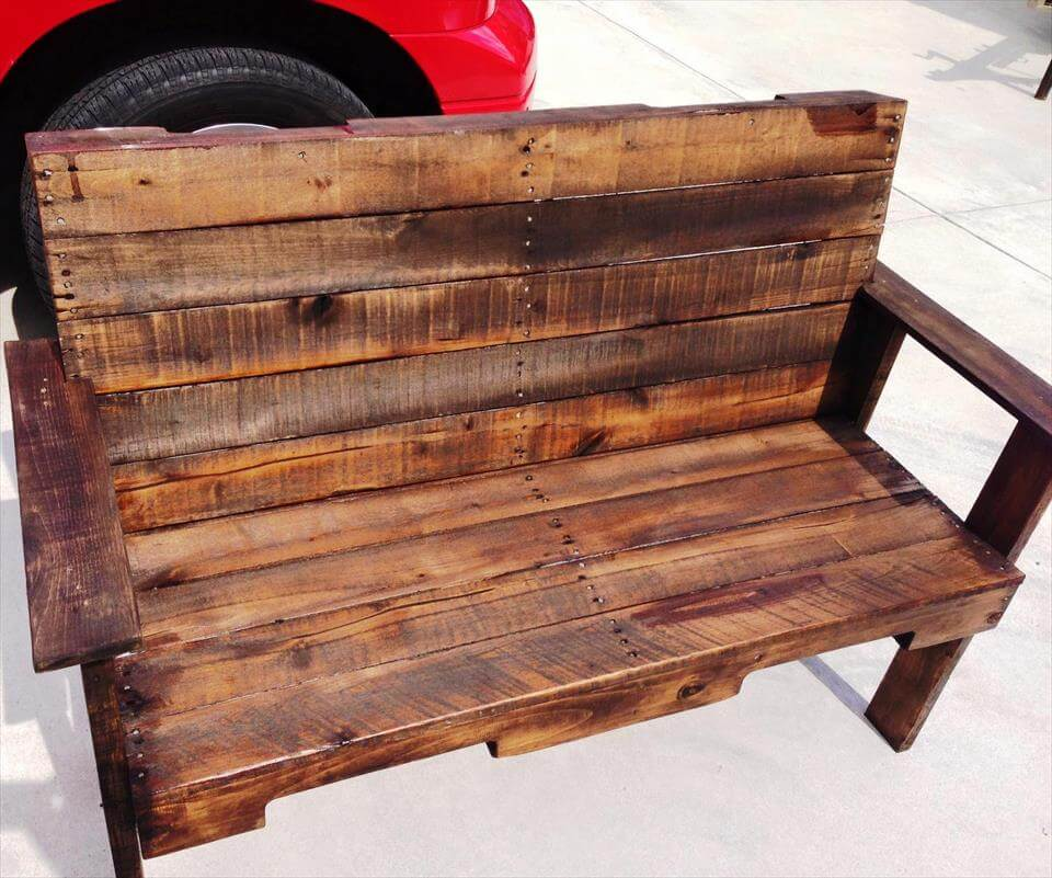 reclaimed pallet outdoor bench