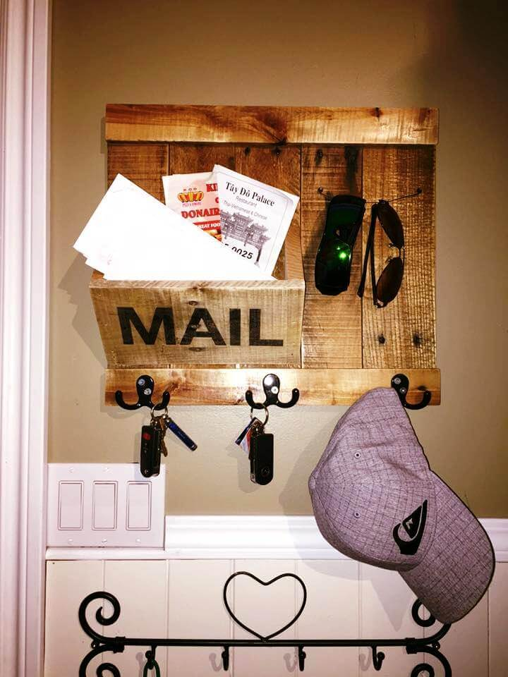 wooden pallet mail organizer and accessory holder