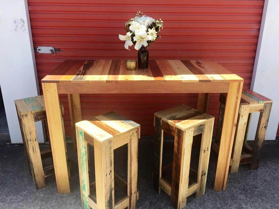 repurposed wooden pallet table and stool set
